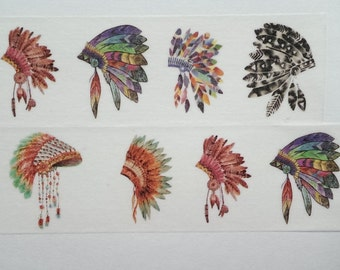 Design Washi tape Indian jewelry colorful feathers