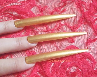 hand painted gold stiletto extreme false nails long stilleto drag queen fake talons claws cosplay uñas quirky fetish claws lasoffittadiste