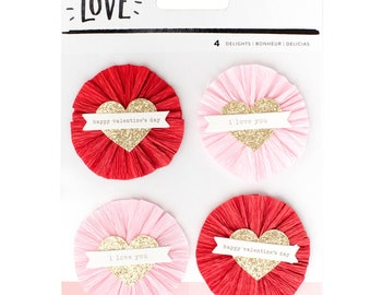 Crate Paper Hello Love Delights Layered Embellishments -- MSRP 4.00