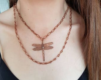 Dragon Fly Double Chain Necklace in Copper