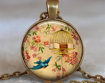 Free to Fly pendant, leaving home gift graduation gift flying free pendant vintage birdcage bird in flight key chain key ring key fob