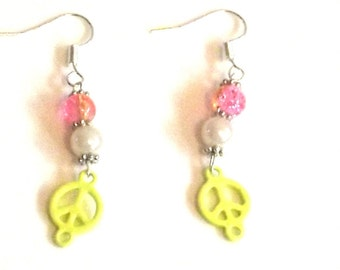 A Handmade Yellow, pink and white Peace Earrings, Peace earrings - Unique