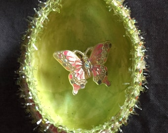 Decorative Egg Art with Butterfly Diorama, Hand Blown, Hand Painted,