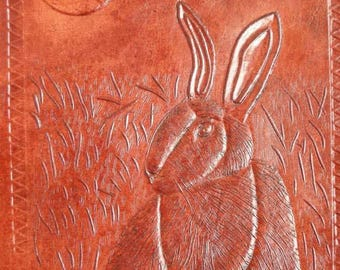 A5 HARE & MOON - Pagan Wicca Handmade Leather Journal Diary Book of Shadows