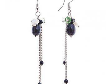 Long chain earrings, Long hanging earrings, Black silver chain earring, long drop earrings, very long earrings, beaded earrings