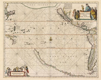 Antique map of Pacific, Japan, west coast of South America, central America,1650, fine art print