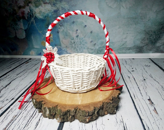 White and red Flower girl basket winter wonderland wedding satin ribbon frozen leaves berries ribbons
