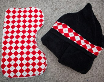 Black Hooded Towel with Matching Burp Cloths