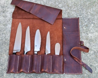 leather knife roll 5 slot