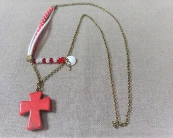 Bronce necklace red necklace red necklace red necklace cross pendant