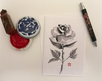 Blank Cards, Pack of 5 with Envelopes, Rose, Any Occasion, Sumi-e, Chinese Watercolor, Print