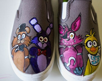Five Nights at Freddy's Custom Shoes, Freddy Fazbear and Friends Handpainted Shoes