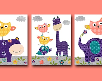 Giraffe Nursery Owl Nursery Digital Art Printable Print Baby Girl Nursery Art Kids Art Digital Download Set of 3 8x10 11X14 INSTANT DOWNLOAD