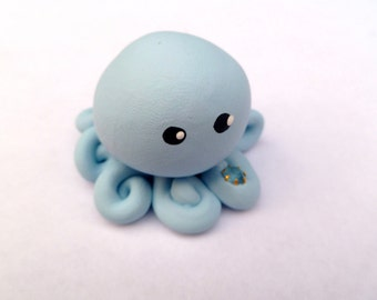Birthstone  Little Octopus Mini Marble Friend in Birthday Month of December Blue Topaz  Light Blue with Faux Gemstone