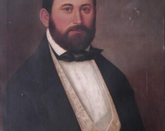 Antique Men's portrait oil painting Biedermeier