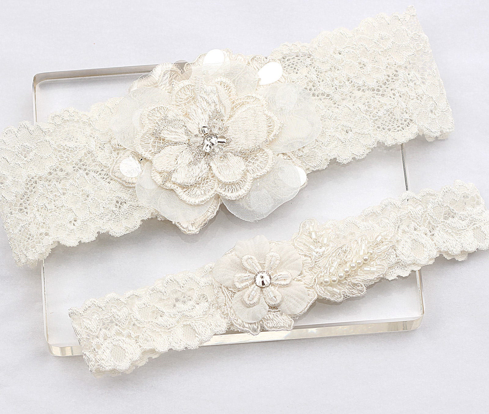 Ivory Garters Wedding: Ivory Lace Garter Set Wedding Bridal Garter Set Wedding