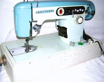 Brother 651 Vintage Japanese Sewing Machine/ Brother Z 651/ Turquoise/ Blue/ Brother Charger Sewing Machine/ MId Century/ Heavy Duty/ Japan