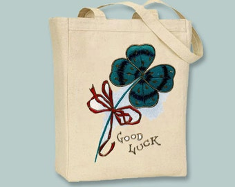 Good Luck Vintage Shamrock Illustration transferred onto Canvas Tote -- Selection of sizes available