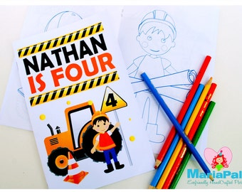 6 Construction Coloring Books, Construction Party Personalized Coloring Books Party Favors  A1012