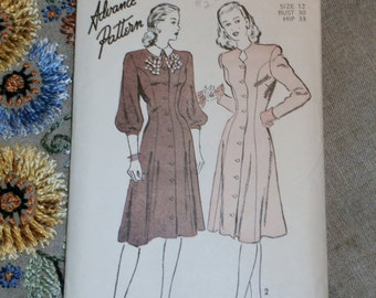 "Vintage 1940s Advance Pattern 4342 for Misses Dress Size 12, Bust 30"", Waist 25"", Hip 33"""