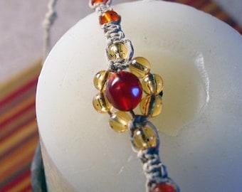 Red and Gold Beaded Macrame Flower Bracelet