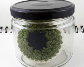 Jar with Giant Olive Green Crocheted Eyeball (SWG-EY012)