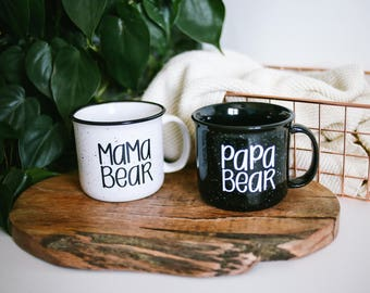 Mama Bear and Papa Bear   Campfire Mug   Coffee Set   Mom and Dad   Gifts For Mom and Dad   Camping Mug   Coffee Mug   Gift Set
