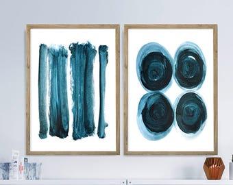 Set of 2 Prints, Abstract Art, Abstract Printable Art, Large Abstract Art, Navy Blue White Art Prints, digital downloads, Minimal Wall Art