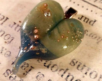 Handmade Lampwork Blue/Green Glass and Silver Dot Heart Pendant