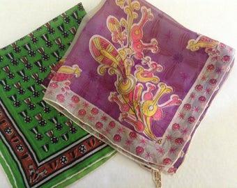 2 Vintage Silk Scarves