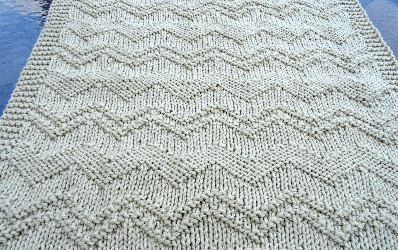Zig zag easy knitting pattern super chunky baby blanket from ...