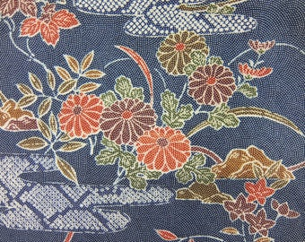 "14.4""w. x 63.1""l. Vintage silk kimono fabric dark blue green flower 2932D or E"