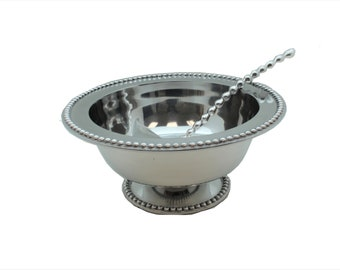 Beaded Design Pewter Punch Bowl And Beaded Ladle
