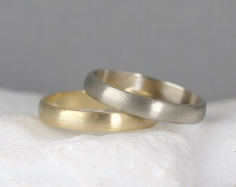 3mm 14K Gold Wedding Band – Men's or Ladies Wedding Rings – Matte Finish – Yellow or White Gold – Commitment Rings – Classic Rounded Bands