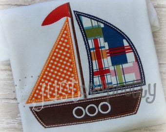 Simple Sailboat Applique Embroidery Design