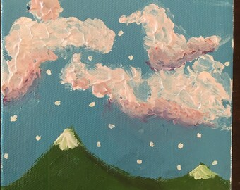 "6""x6"" Acrylic Mountain Scene Painting"