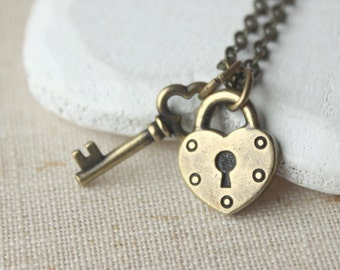 Brass padlock and key pendant small bronze heart lock necklace valentines gift for girlfriend choose length of chain N110