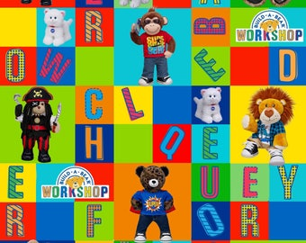 Build A Bear Fabric-Build A Bear Alphabet Blocks 100% Cotton Fabric-Sold By the Yard-