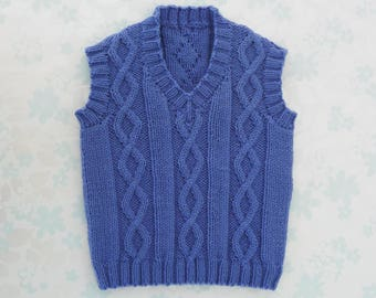 BABY / TODDLER BOY Sleeveless Sweater / Vest - 1 to 2 year size - cute cable design in blue - 1st birthday gift - ready to ship