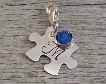 Hand Stamped Autism Jewelry - Personalized - Charm For Bracelet - Sterling Silver Puzzle Piece - Initial - Lobster Clasp or Slider Bail