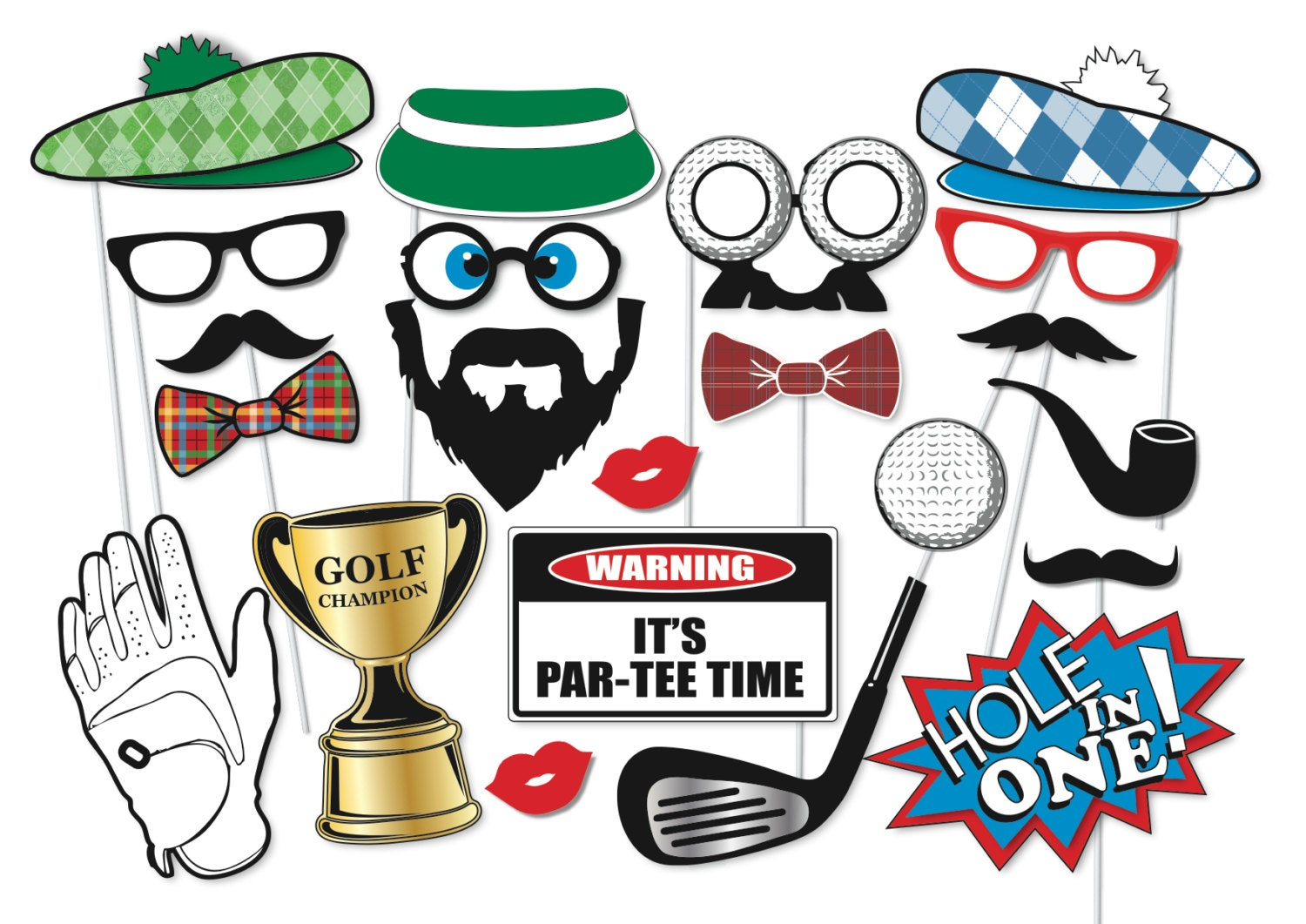 Golf party photo booth props set 22 piece printable golfer zoom bookmarktalkfo Choice Image