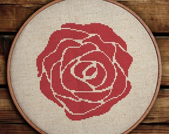 Get 30% off when you buy two or more patterns / Modern Cross Stitch Pattern / PDF Chart Instant Download / Red ROSE / Spring / Summer