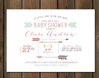 Arrow baby girl shower invitations _51