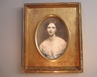 Victorian Portrait Photograph In Black And White Gold Leaf Oval Wood Frame