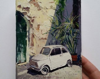 "Fiat 500 in a tatty street in Rome - oil on canvas 7x5"" sunlight painting/art"