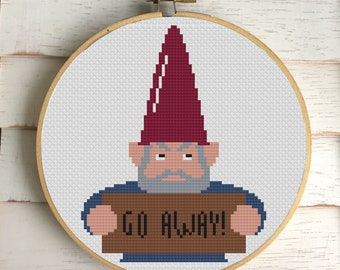 Angry Gnome Counted Cross Stitch DIY KIT Intermediate