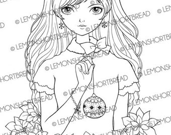 Digital Stamp Christmas Ornament Girl, Digi Download Poinsettia, Winter Fashion, Coloring Page, Clip Art Graphic, Scrapbooking Supplies