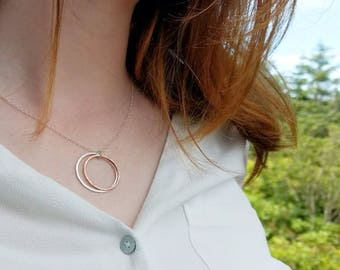 Silver Necklace - Silver Circle Necklace - Hammered Silver Necklace - Mixed Metal Necklace - Ring Necklace - Graduation Gift Bridesmaid Gift