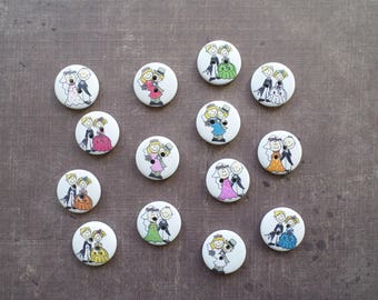 30 buttons round wood white pattern Wedding Couple groom 2 cm