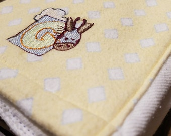 """Burp Cloth - Yellow with White and Blue Diamonds and a """"G"""" for Giraffe on a White Cloth Diaper"""